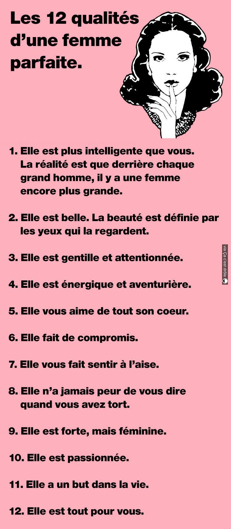 Les 12 qualités de la femme parfaite