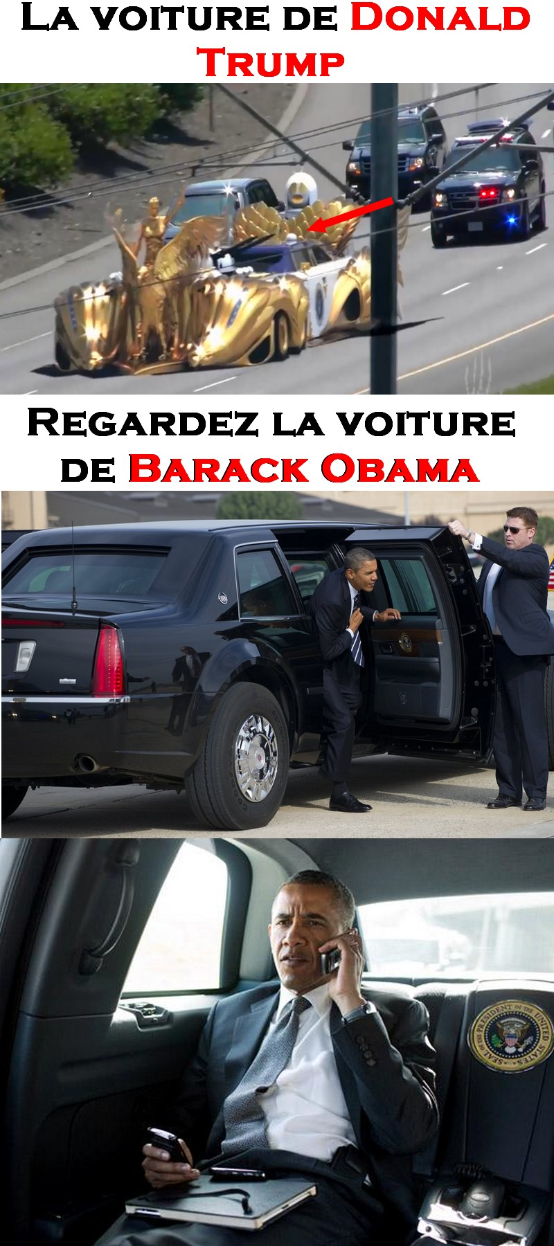 la voiture de barack obama vs trump image lien. Black Bedroom Furniture Sets. Home Design Ideas